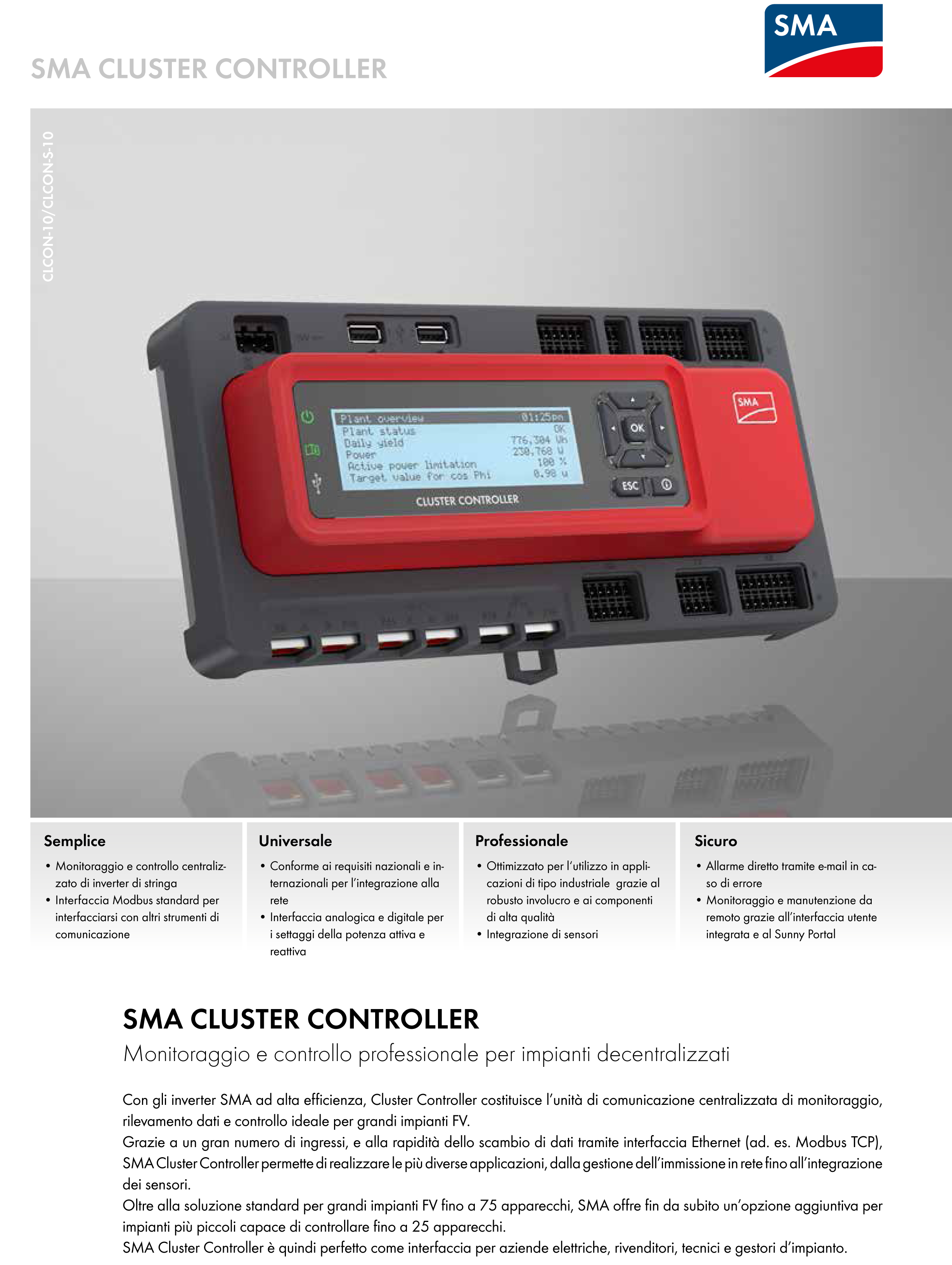 sma cluster controller per max 75 inverter shop energia italia. Black Bedroom Furniture Sets. Home Design Ideas